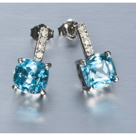Millennium Creations Blue Topaz Earrings - 10K White Gold Earrings