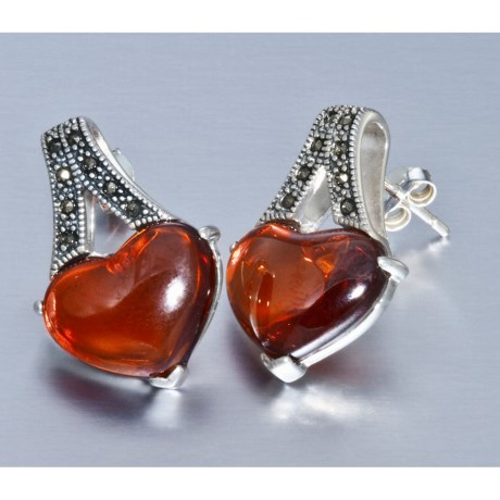 Silver Express Heart Earrings - Cubic Zirconia, Marcasite