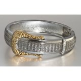 Majestic Two-Tone Buckle Bangle Bracelet