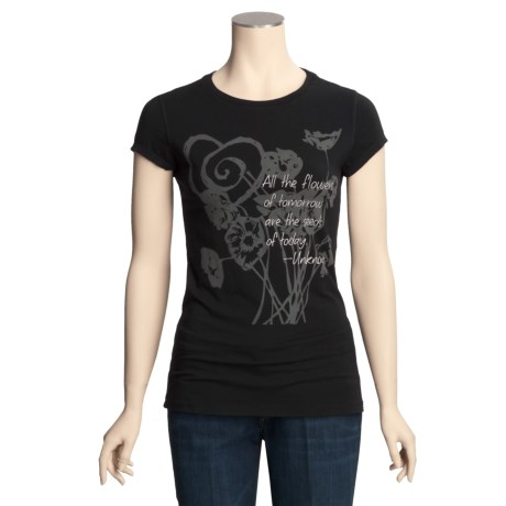 Trust Your Journey Seeds-to-Flowers T-Shirt - Organic Cotton, Stretch, Short Sleeve (For Women)