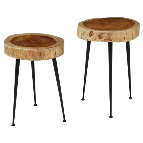 Jofran Solid Hardwood and Steel Stools - 2-Piece