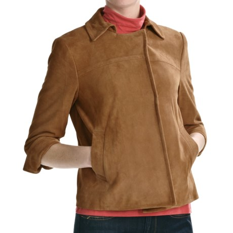 Lamb Suede Jacket - 3/4 Sleeve (For Women)