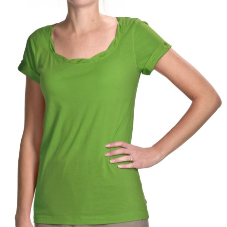 Specially made Twist-Neck Cotton-Modal Shirt - Short Sleeve (For Women)