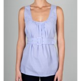 Lilla P Woven Cotton Scoop Tank Top - Shirred, Belted (For Women)
