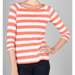Lilla P Striped Boat Neck Shirt - 3/4 Sleeve (For Women)