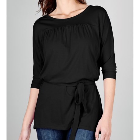 Lilla P Pima Jersey Belted Tunic Shirt - 3/4 Sleeve (For Women)