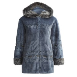 Nordic Lights Plush Acrylic Hooded Parka (For Women)
