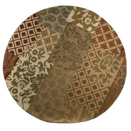 "Kaleen Bombay Patchwork Wool Rug - 7'9"" Round"