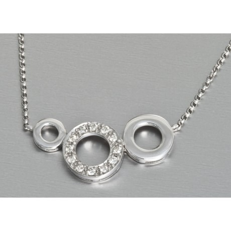Stanley Creations Tri Circle Necklace - 0.12CT Diamond Accent, 14K White Gold