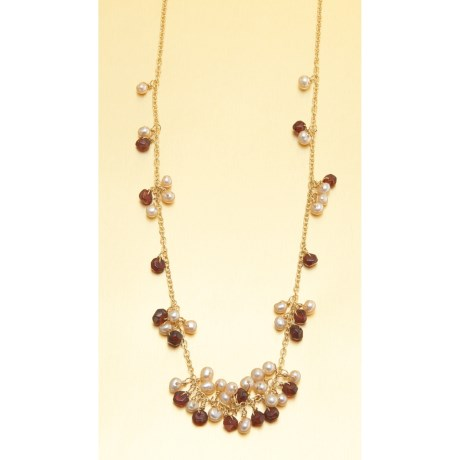 Stanley Creations Short Cluster Necklace - Garnet and Pearl