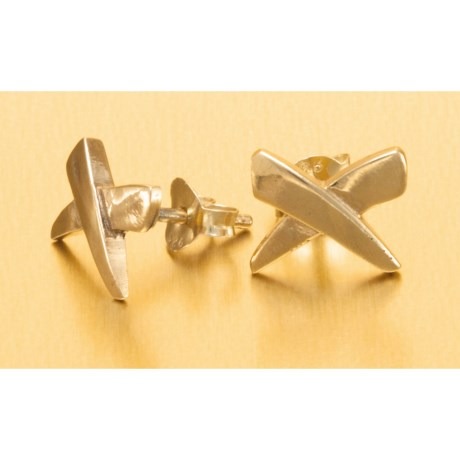 "Stanley Creations ""X"" Stud Earrings - Gold Over Sterling Silver"