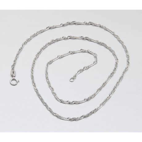 """Stanley Creations Singapore 18"""" Chain - 14K White Gold"""