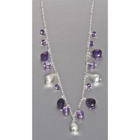Stanley Creations Drop Necklace - Sterling Silver and Amethyst