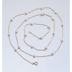 Stanley Creations Long Pearl Necklace - Gold Over Sterling Silver