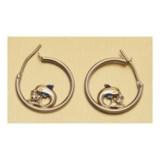 Stanley Creations Dolphin Hoop Earrings - 10K Gold, Cubic Zirconia