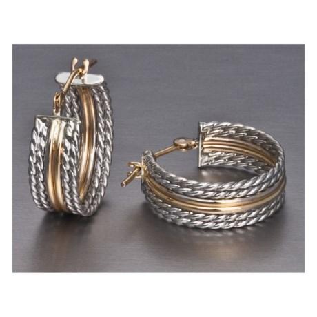 Stanley Creations Rope Hoop Earrings - Sterling Silver, 14K Gold