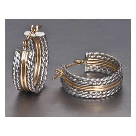 Stanley Creations Rope Hoop Earrings - Sterling Silver, 14K Gold