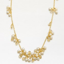 Stanley Creations Pearl and Citrine Cluster Necklace