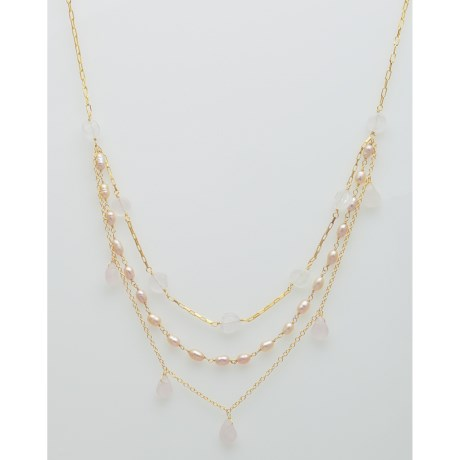 Stanley Creations Rose Quartz and Pearl Necklace - Three Layer