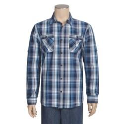 Cotton Plaid Sport Shirt - Long Roll-Up Sleeve (For Men)
