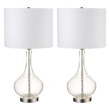 J Hunt Set of 2 Clear Glass Table Lamps - 26""
