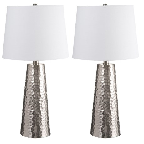 """J Hunt Set of 2 Brushed Steel Hammered Cone Table Lamps - 25.5"""""""