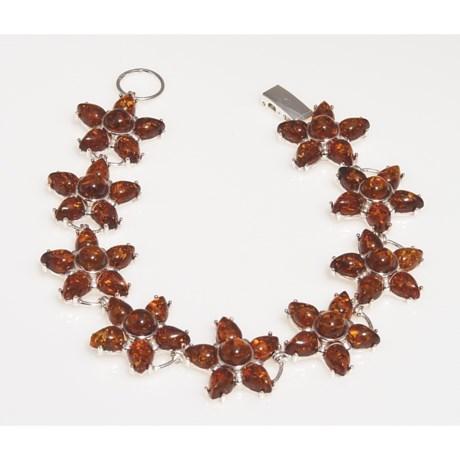 Vessel Baltic Amber Star Pendant Bracelet (For Women)