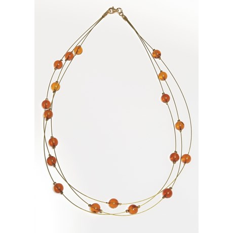 """Vessel Amber Bead Necklace - Gold Tone, 17"""" (For Women)"""