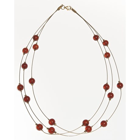 "Vessel Amber Bead Necklace - Gold Tone, 16"" (For Women)"
