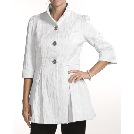 Ethyl Crinkled Coat - 3/4 Sleeve (For Women)