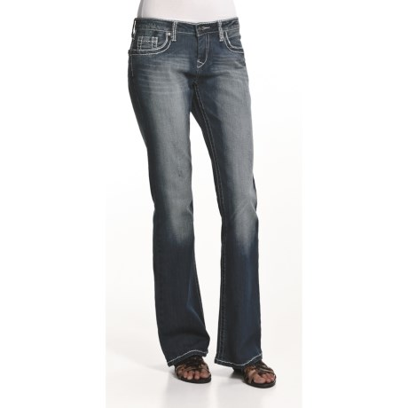Zenim Distressed Bootcut Jeans (For Women)