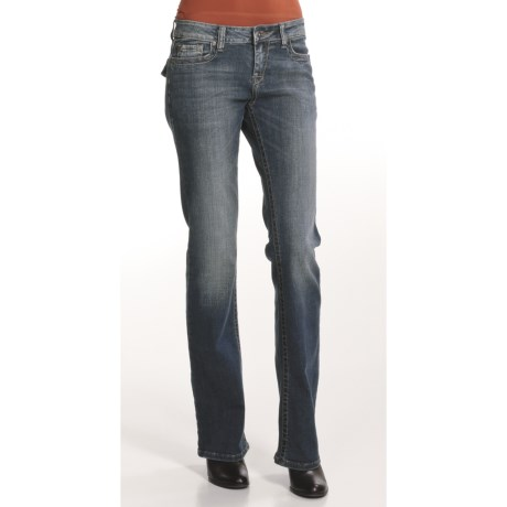 Zenim Bootcut Jeans - Embroidered Flap Pockets (For Women)