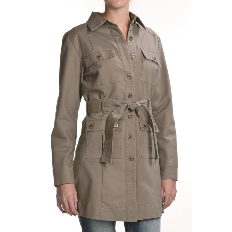 Zenim Cotton Gabardine Trench Coat - Stretch (For Women)