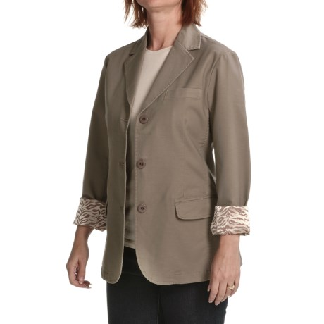 Zenim Boyfriend Jacket - Stretch Cotton Gabardine (For Women)