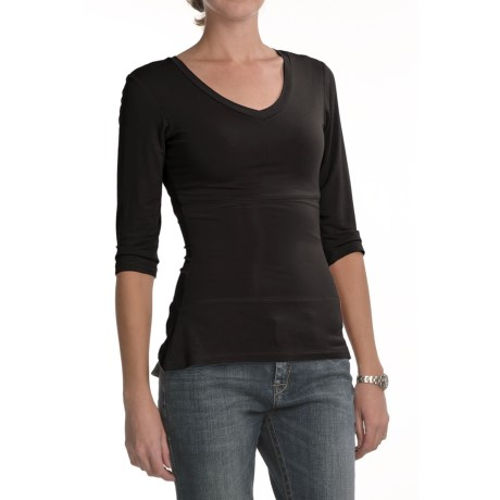 Euro Knit Tummy-Control Shirt - 3/4 Sleeve, V-Neck (For Women)