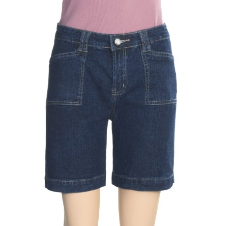 Ethyl Rhinestone-Accent Jean Shorts (For Women)