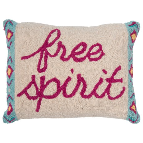 "Peking Handicraft, Inc. Free Spirit Throw Pillow - 14x18"", Hand-Hooked Wool"