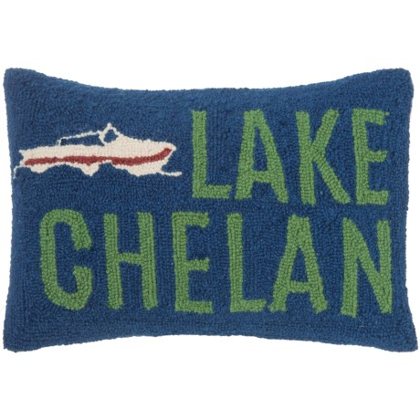 "Peking Handicraft, Inc. Lake Chelan Throw Pillow - 12x18"", Hand-Hooked Wool"