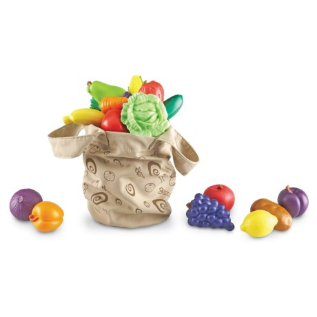 Learning Resources New Sprouts Fresh Picked Fruit and Veggie Toy Tote - 16-Piece