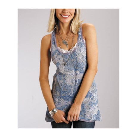 Stetson Printed Jersey Knit Tank Top - Racerback (For Women)