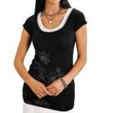 Stetson Floral Burnout Shirt - Faux-Racerback Inset, Short Sleeve (For Women)