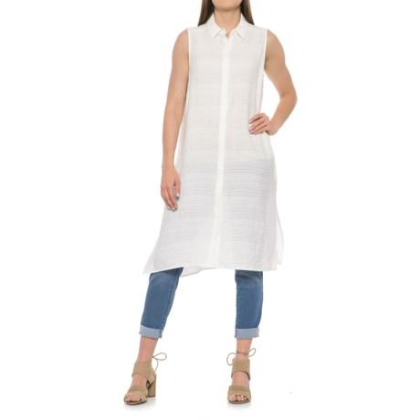 Foxcroft London Leno Stripe Maxi Tunic Shirt - Sleeveless (For Women)