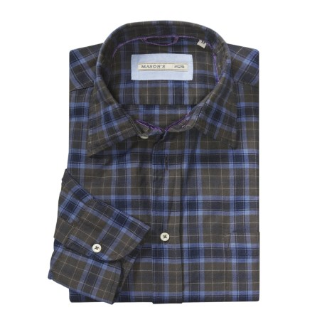 Mason's Large Check Sport Shirt - Long Sleeve (For Men)