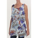 Sienna Rose Georgette Lace Tiered Tunic Shirt - Sleeveless (For Women)