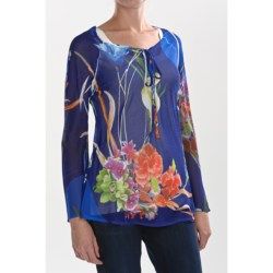 Sienna Rose Georgette Tunic Shirt - Tie Neck, Long Sleeve (For Women)
