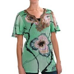 Sienna Rose Embellished Empire Tunic Shirt - Short Sleeve (For Women)