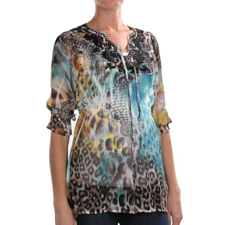 Sienna Rose Georgette Embroidered Tunic Shirt - 3/4 Sleeve (For Women)