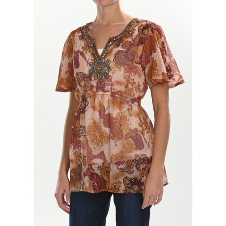 Sienna Rose Beaded Georgette Tunic Shirt - Short Sleeve (For Women)