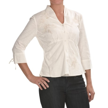 Two Star Dog Embroidered Mirabelle Shirt - 3/4 Sleeve (For Women)