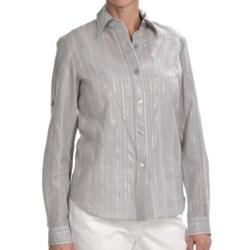 Lafayette 148 New York Shimmer Stripe Shirt - Long Sleeve (For Women)